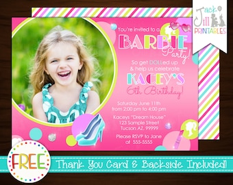 Fahion Invitation, Girl Birthday, Doll, Makeover Invite, Dress Up Party, Diva Girl Birthday, Glamor Party +FREE Thank You Card!