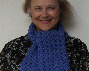 Crochet Scarf, Alpaca Scarf, Crocheted Scarves, Women's Scarves, Blue Scarf, Scarves, Gift for Her, Women's Gift, Mom Gift, Hand Crocheted