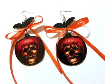 Halloween 2 Pumpkin Dangle Earrings with Bats and Bows