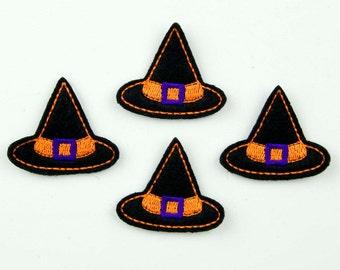 WITCH HAT - Embroidered Felt Embellishments / Appliques - Black, Orange & Purple  (Qnty of 4) SCF3085
