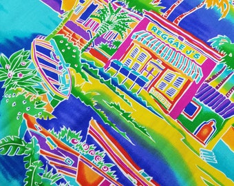 SWATCH - Caribbean Beach Boat and Raggea J's Print Fabric 4 X 4 Sample
