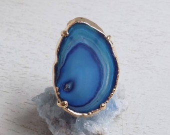 Crystal Ring, Agate Ring, Blue Agate Slice Ring, Boho Ring, Geode Ring, Statement Ring, Large Gemstone Ring Gold Adjustable Ring Gift 10-452