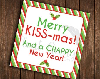 Merry KISS-mas! And a CHAPPY New Year! Rodan + Fields holiday gift tag