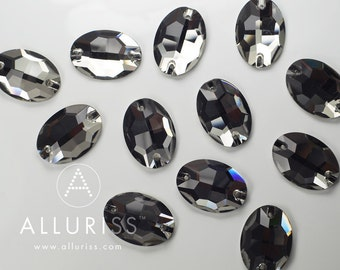 12pcs Black Diamond Crystal, 17 x 24mm Oval, sew on stone embellishment  flatback