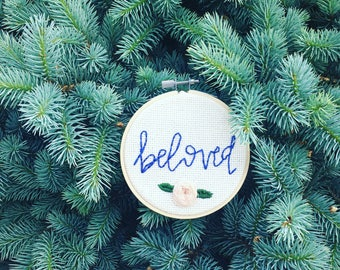 "Beloved // Embroidery Hoop Art // 4"" Wall Art //"