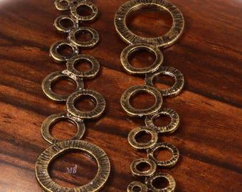 """6 """"art nouveau"""" connectors metal bronze estate 46x12mm bubbles"""