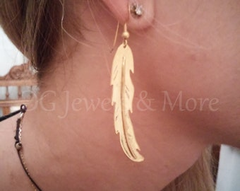 Feather Earrings Gold Plated