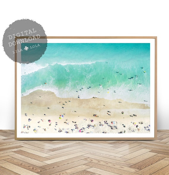 Beach Photography Wall Art Print, Digital Download, Ariel Photo, Large Printable Ocean, Beach Wall Art, Coastal Decor, People on the Beach