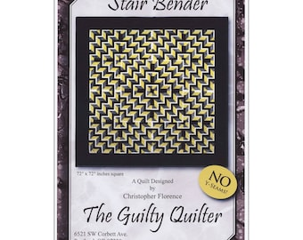 Stair Bender Quilt Pattern by Christopher Forence a.k.a. The Guilty Quilter. Optical Illusion Quilt