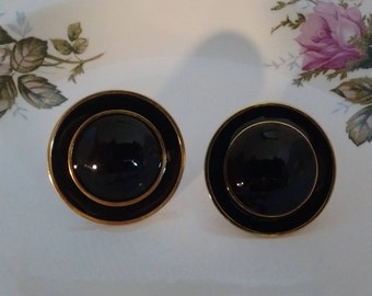 NAPIER Black Enamel/Gold Clip Earrings