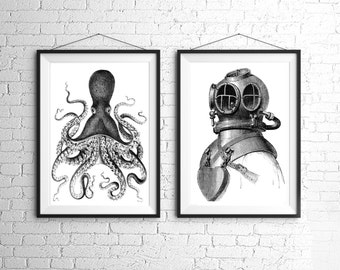 Octopus and Deep Sea Diver Large Nautical Vintage Style Print Set Black and White Grey Beach House Decor