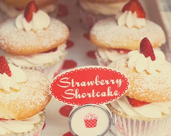 cupcake print, cake photo, kitchen decor, bakery art, food photography, ruby red strawberry cream frosting kids room, cupcake photograph