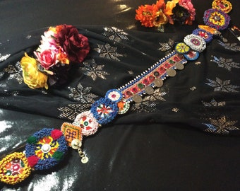 Black Velvet Tribal Medallion Belt with Beading and Mirrors - PAYMENT PLAN available Tribal Fusion ATS Bellydance Dance Boho Gypsy Festival