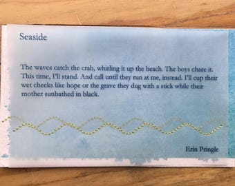 Seaside poem stitched into watercolor postcard