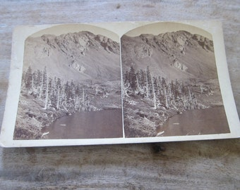Antique Stereoview by Charles E Emery, Gibbs Peak and Lakes of the Clouds Stereo Card