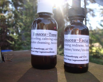 Rosacea Skin Tonics/Toner & Moisturizer/Organic Skin Care with Calendula