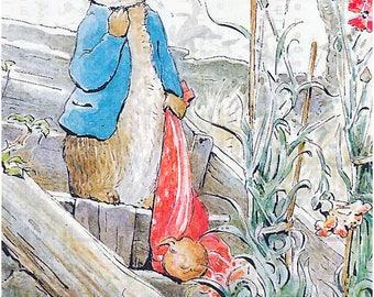 PETER RABBIT At The Orchard. Antique Rabbit Illustration Beatrix Potter Nursery Decor. Peter Rabbit Digital Download.