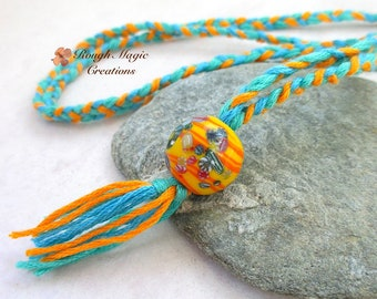 Boho Bolo Necklace, Lampwork, Colorful Braided Cord & Tassel, Multicolor Orange Blue Yellow, Southwestern, Adjustable Rope Necklace N328