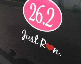 Holiday Sale,Running Car Decal- Just Run with heart -Car Decal, Vinyl Car Saying. Full Marathon, Half Marathon, 5K, Runners Race Decal,
