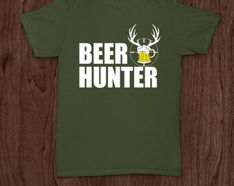 Beer hunter funny t-shirt tee shirt tshirt Christmas hunt hunting deer beer outdoor sports father father's day shooting dad daddy family fun