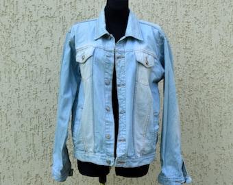 Oversized 90's Denim Jacket Retro Blue Jean Jacket Vintage Jeans jacket Distressed denim jacket Riders Light Blue Jeans Jacket Large Size