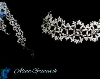 Beaded Women's Necklace Beaded Choker White wedding necklace Wedding Choker For her  Jewelry necklace for the bride  Beading  Wedding Dress