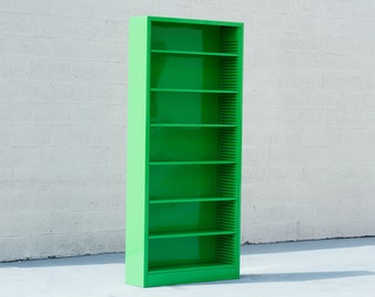 Classic Tall Steel Tanker Bookcase, Refinished in Lime Green