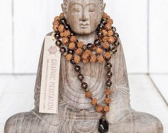 Rudraksha smoky quartz mala beads, 108 mala necklace, Meditation beads, Smokey quartz necklace, Brown tassel rosary beads, Hand knotted mala