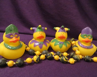 Mardi Gras rubber ducks - Great for Fat Tuesday parties!