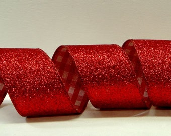 Wired Glitter Ribbon with a Twist ~ 2.5 inch  Red Glitter Ribbon with Red & White Checks on the Back (Inside) ~ Only 1 Roll Available