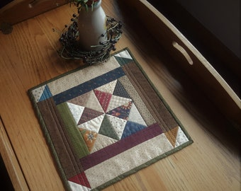 Quilted Table Topper / Country Table Topper / Primitive Table Mat /  Quilted Candle Mat / Handmade Table Topper