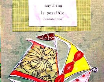 """Voilier 8.5 """"x 11"""" peinture techniques mixtes choisir espoir professeur cadeau étonnant Original toile plat d'Inspiration Floral navire gratuit"""