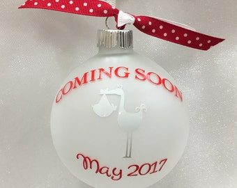 "Personalized ""Coming Soon"" christmas ornament"