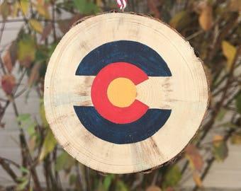 Colorado Ornament, Mountain Ornament, Christmas Ornament, Wood Slice Ornament, Hiking ornament,  Ornament, Holiday ornament, Rustic Ornament