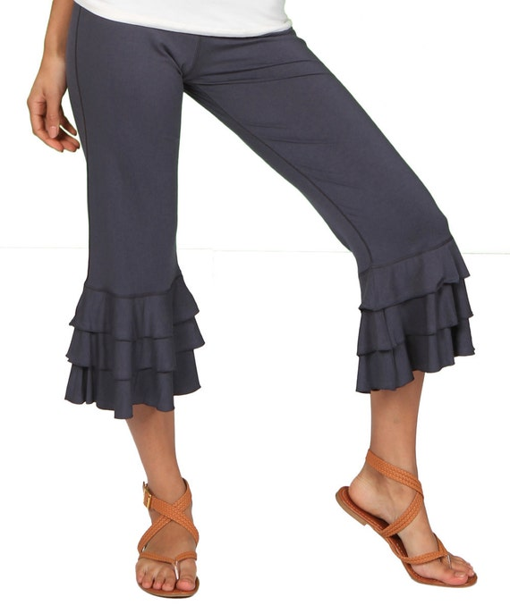 Darlene Ruffle Bloomer Yoga Pants in Dark Gray for Womens Summer Fashion Boho Chic Wear Wholesale