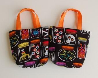 Set of 2 Halloween Fabric Gift Bags/ Party Favor Bags/ Halloween Goody Bags- Specimen Jars
