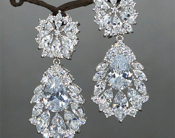 Vintage Wedding Earrings Hochzeit Ohrringe Crystal Bridal Earrings Crystal Drop Earrings Brautschmuck Vintage Wedding Jewelry