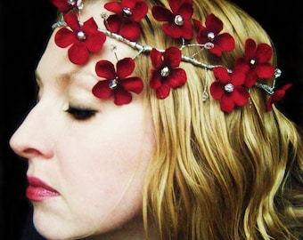 Red Velvet Flower Bridal Headpiece crown halo garland with silver and crystal beads