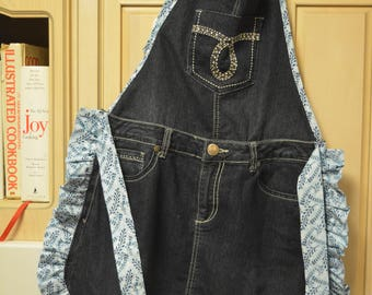 Denim Apron with Blue Trim