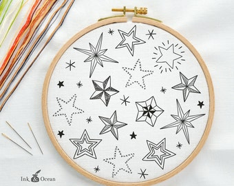 Star night sky, sampler Digital hand embroidery pattern , PDF instant Download