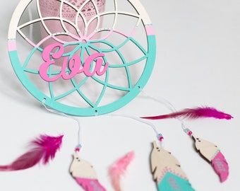 Personalized wooden dreamcatcher - Wall decor - Nursery decor - Wooden name sign - Name wall sign - Name plague -Baby gift - Nursery letters