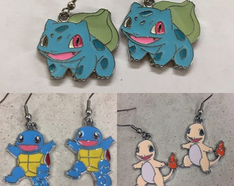 Pokémon Inspired Charm Earrings - First Generation Starters - Bulbasaur, Charmander, Squirtle