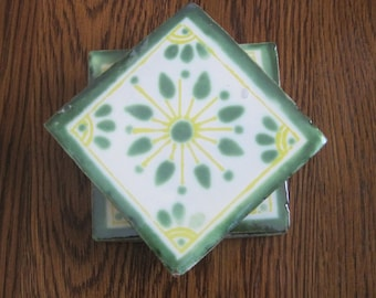 Set of 4 Green and Yellow Mexican Folk Art Tile Drink Coasters