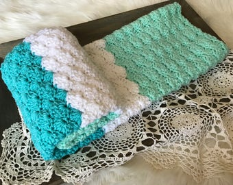 Crochet Baby Blanket - Knit Baby Blanket - Stroller Blanket - Toddler Blanket - Baby Crib Blanket Mint Turquoise and White