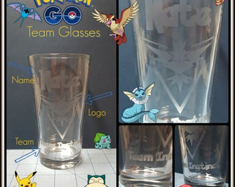 Pokemon, Pokemon GO w/ Name - Etched Pub Glasses.  Choose your Team, and personalize your glass! Instinct, Mystic, Valor