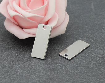 4 rectangle pendants 21 x 9 mm AC15 stainless steel
