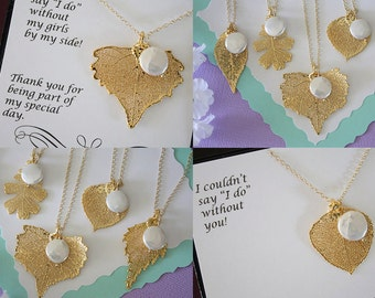4 Gold Leaf Bridesmaid Necklace, Real Leaf, Pearl Necklace, Thank you card, Leaf Necklace, Leaf Pendant, Bridesmaid Gift, White Pearl