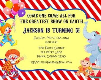 Girl or Boy Circus Printable Birthday Party Invitation Digital DIY Image Your Choice
