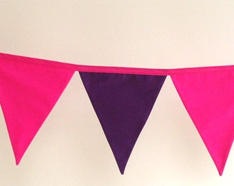 Pink and Purple Girls Fabric Bunting Banner Flags