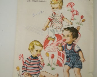 Baby playsuit pattern / Infants / t-shirt / shower gift 1980s vintage sewing pattern, Size Infant Small Medium Large X-Large, Kwik Sew 246